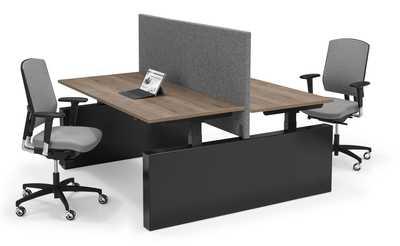 FLEX 3 BENCH zit-sta werkplek (elektrisch verstelbaar) op WANGEN met akoestisch paneel